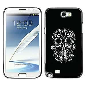 GOODTHINGS Funda Imagen Diseño Carcasa Tapa Trasera Negro Cover Skin Case para Samsung Note 2 N7100 - motorista negro ojos cráneo blanco roca
