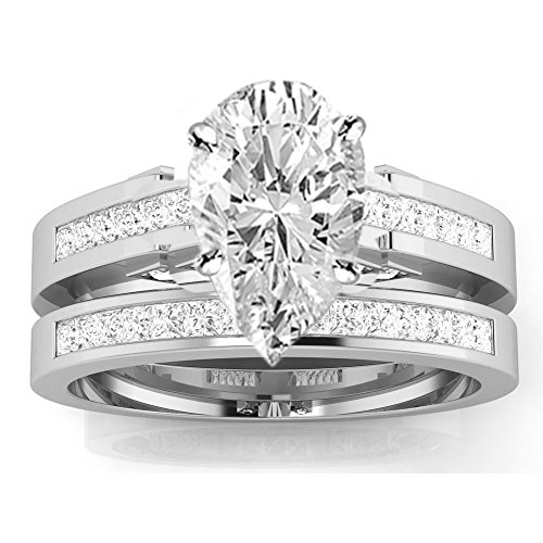 2.7 Cttw 14K White Gold Pear Cut Channel Set Princess Cut Bridal Set Diamond Engagement Ring Wedding Band with a 2 Carat I-J Color I1 Clarity Center (2 Ct Diamond Wedding Rings)