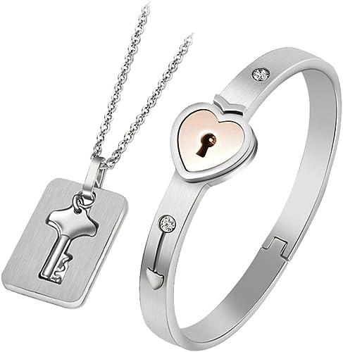 Son et Sien Personnalisé Acier Inoxydable couples assortis cœur bracelet chaîne