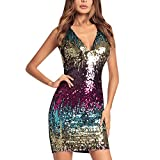 CHNS Women Sexy Halter Dress Deep V Neck Sequin Bodycon Mini Dress Clubwear