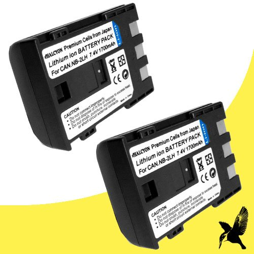 Two Halcyon 1700 mAH Lithium Ion Replacement Battery for Canon DC330 1.07MP DVD Digital Camcorder and Canon NB-2LH