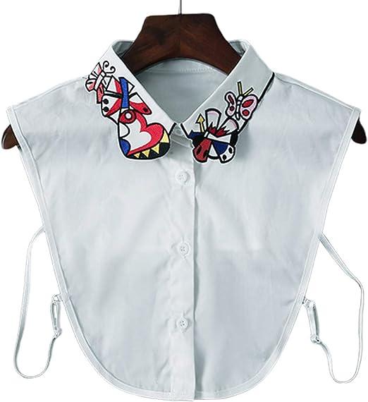 Yanhonin Cuello falso de bordado de mariposa de corazón de mujer, camisa desmontable de media camisa: Amazon.es: Hogar