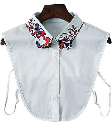 xian Mujeres Corazón Mariposa Bordado Solapa Cuello falso Blusa desmontable Media camisa: Amazon.es: Ropa y accesorios