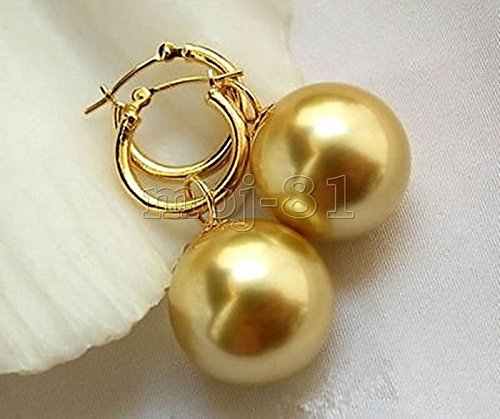 Huge AAA+ 16mm Golden South Sea Shell Pearl 14K Gold Plated Earrings
