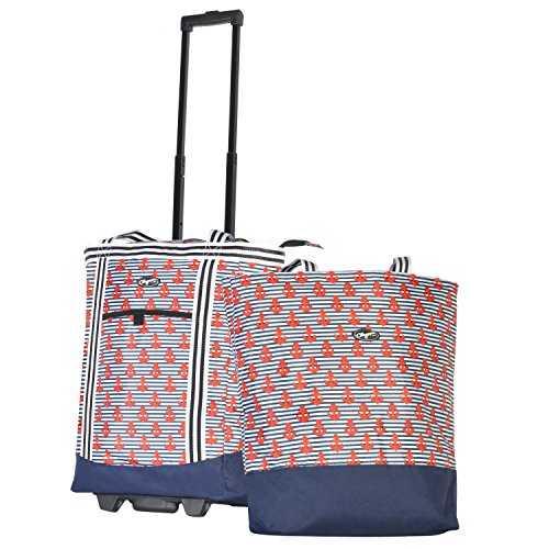 Olympia 2-Piece Rolling Shopper Tote and Cooler Bag, Anchor