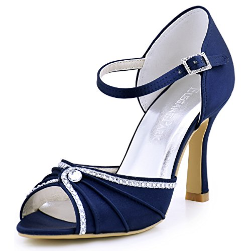 marino de Bailarinas satén Elegantpark Azul Mujer 5Xwqxfg