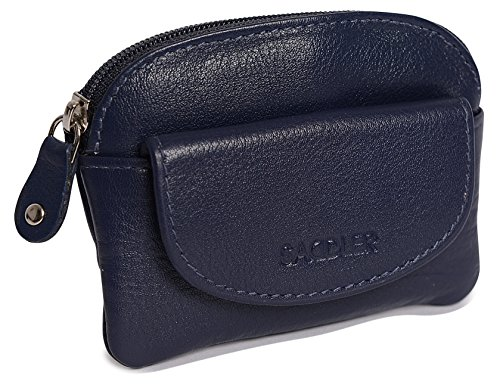 Leather Zip Front Pouch - SADDLER Womens Leather Zip Top Coins Key Purse Front Flap Pocket - Peacoat Blue
