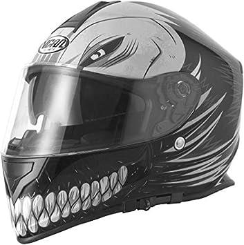Vcan V127 hueca calavera motocicleta moto ACU aprobado Full Face casco mate negro + oscuro visera