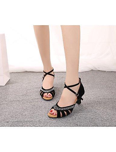 La mode moderne Non Sandales femmes personnalisables Chaussures de danse ventre/latin/Samba/flocage velours Cuban Heel Black/blue/red,Black,US6/EU36/UK4/CN36