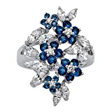 Lux Silver Tone Round and Marquise Cut Floral Cluster Ring, Simulated Blue Sapphire and Cubic Zirconia