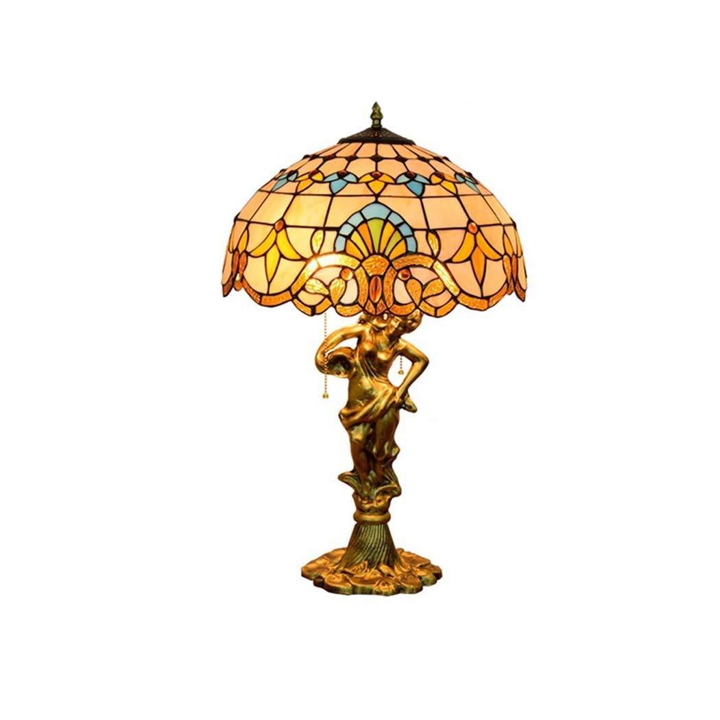16-Zoll-Tiffany-Stil-Tischlampe, barocke Glasmalerei-Nachttischlampen, Dekoration-Schreibtischlampen für Büro-Wohnzimmer-Schlafzimmer, Meerjungfrau-Basis YDYG