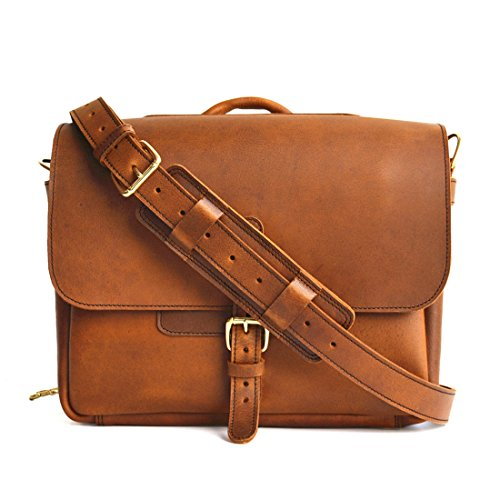 Marlondo Leather Postal Messenger Bag (16'', Tobacco) by Marlondo Leather