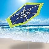 AMMSUN 6 Panels 7ft Polyester Fabric Heavy Duty Air-Vent UV Protection Patio Umbrella Beach Umbrella with Zinc Tilt Green