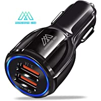 Premium Car Adapter - Fast Car Adapter with Dual USB Qualcomm 3.0 Port for iPhone 11 Pro Max Xs X Xr 8P 7 6, iPad and for Galaxy S10/S9/S8/S7/S6/Plus, Note 9