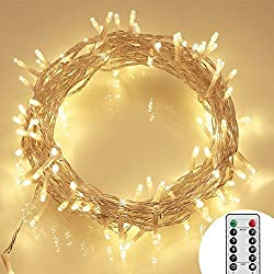 36ft 100 LED Outdoor Battery Fairy Lights (8 Modes, Dimmable, IP65 Waterproof, Warm White)