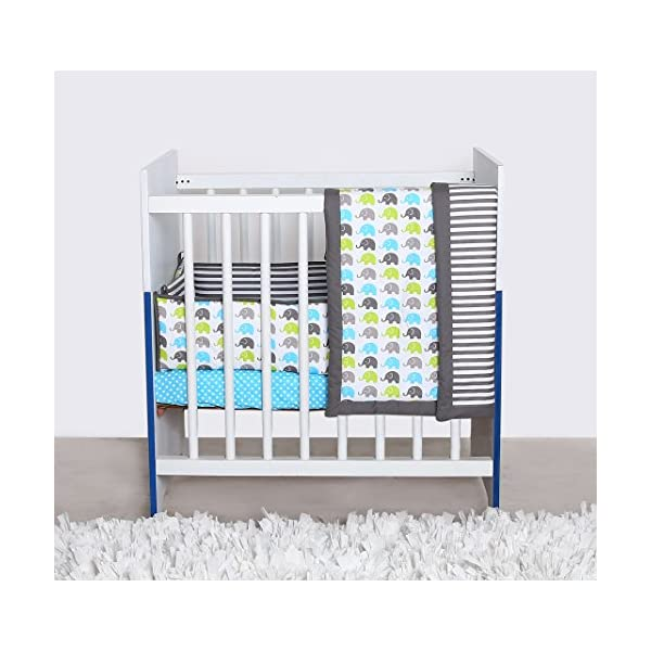 Bacati Elephants Portable 3-Piece Crib Bedding Set, Aqua/Lime/Grey