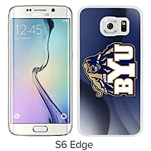 NCAA Independents BYU Cougars 16 White Samsung Galaxy S6 Edge Protective Phone Cover Case