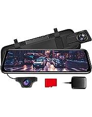 AZDOME PG02, spiegeldashcam met achteruitrijcamera, GPS, parkeerhulp, super nachtzicht, loop-opname, G-sensor, parkeermonitor, micro SD-kaart, autocamera, dual lens [1296P, 170° voor; 720P, 150°achter]