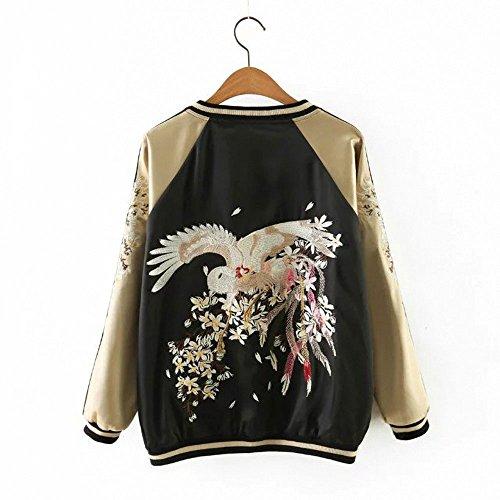 Womens-Girls-Reversible-Lightweight-Satin-Bird-Embroidery-Bomber-Jacket