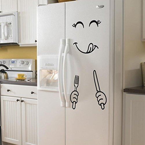 Christmas Snowman Wall Refrigerator Stickers, Cute Sticker Fridge Happy Snowman Kitchen Fridge Wall Refrigerator Vinyl Stickers Art DIY Wall Decal Home Decor (D) by Sunshinehomely