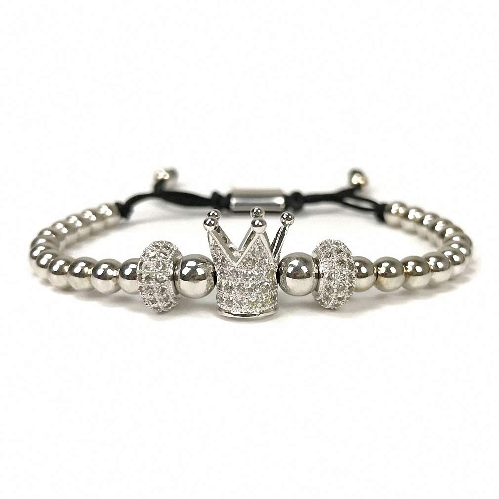 Hynsin Womens Mens Bracelet Crown Charms Bracelet Men Jewelry Braiding Macrame Beads Bracelets for Women Christmas