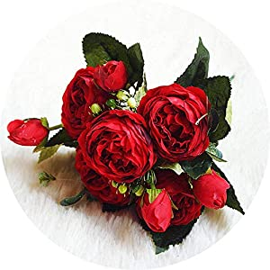 vibe-pleasure Beautiful Rose Peony Artificial Silk Flowers Small Bouquet Flores Home Party Spring Wedding Decoration Mariage Fake Flower,H 23
