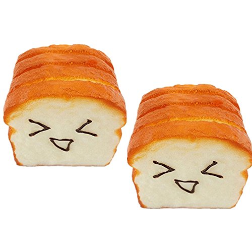 Giveme5 Pack of 2 Simulation Cute Toast Squishy Expression Card Cellphone Strap Holder Hand Pillow Bread Toy
