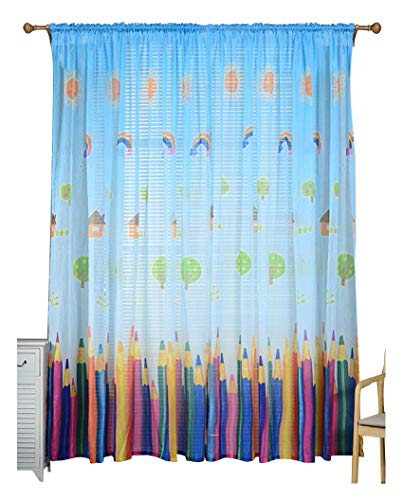 Cartoon Crayon Graphic Print Lovely Sheer Window Curtains Rod Pocket Top Voile Panel Treatments Drapes for Living Room & Kid's Room(1 Panel, W 50 x L 90 inch, Blue)
