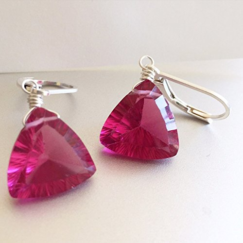 Quartz Earrings Trillion (Pink Trillion Earrings, Sterling Leverback, Quartz Laser Cut, Looks Like Sapphire or Spinel)