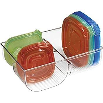 mDesign Food Storage Lid Organizer for Kitchen Cabinet, Pantry - Clear