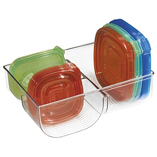 MDesign Food Storage Lid Organizer For Kitchen Cabinet, Pantry   Clear