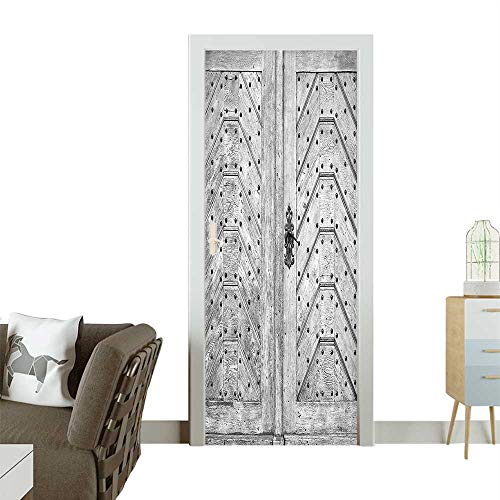 Homesonne Modern Art Door Sticker Old Door Exit Brads Nailed Old Fashi ed Culture Middle Ag Work Environmentally Friendly decorationW23.6 x H78.7 INCH