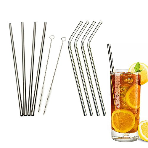 Aestar Stainless Steel Straws, Durable Reusable Metal 10.5inch Extra Long Drinking Straws Set (4 Straight and 4 Bend) - for 30OZ Yeti Rtic Ozark Tumbler Cups- with 2 Cleaning Brushes