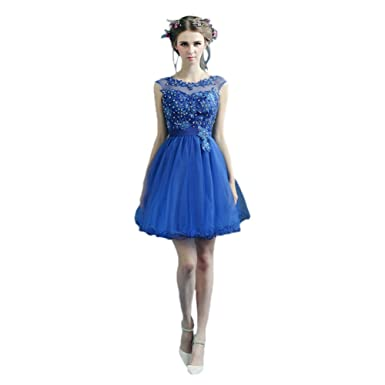 23e90457f vimans Women s 2016 Lovely Short Blue Scoop Beaded Lace Formal Party ...