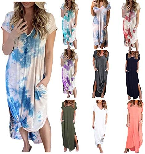 VANSOON Women Plus Size Daily Tie-Dyed Color Block Loose V Neck Short Sleeve Dress Casual Loose Boho Maxi Casual Sundress