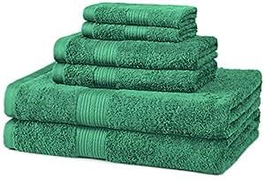 AmazonBasics Fade-Resistant Cotton 6-Piece Towel Set, Teal