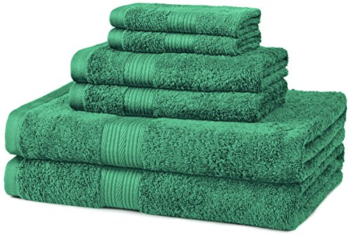Hand Bed Set Painted (AmazonBasics Fade-Resistant 6-Piece Cotton Towel Set, Teal)