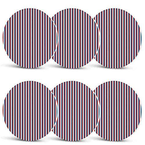 Harbour Stripe Unique Coasters,Vertical Patriotic Colorful Contrast Toned American Colors Decorative for Coffee Shop & BarSet of -