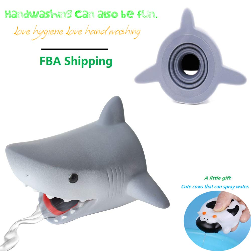 Children Silicone Bath Spout Cover Faucet Extender Sink Handle Extender Faucet for Baby, Toddler Bathroom Bathtub Safety and Fun, Sink Extension Hand Washing, Kitchen Accessories(Cartoon Shark)