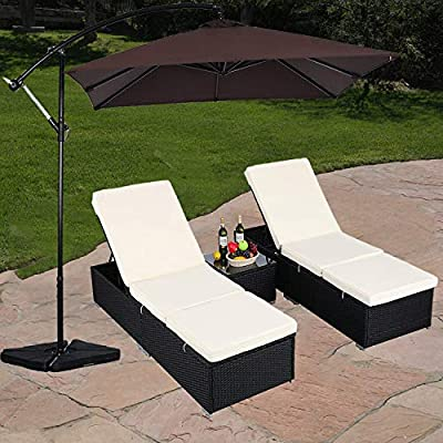 Do4U 3 Pcs Outdoor Patio Synthetic Adjustable Rattan Wicker Furniture Pool Chaise Lounge Chair Set with Table