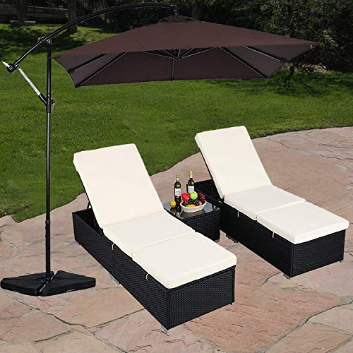 Do4U 3 Pcs Outdoor Patio Synthetic Adjustable Rattan Wicker Furniture Pool Chaise Lounge Chair S ...