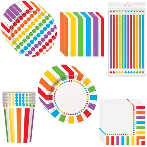 Rainbow Birthday Deluxe Party Pack Including Plates, Cups, Napkins and Tablecover - 8 Guests