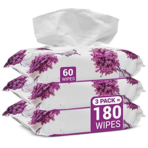 Herb & Luxe Face Wipes, Flip-Top Makeup Remover Facial Cleansing Wipes with Aloe Vera for Sensitive, Oily, dry Skin, Face/Hands/Body, Women/Men, 60 Count, Lavender (Pack of 3 = 180 Wipes) (Best Face Wipes For Dry Sensitive Skin)