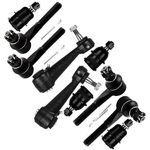 SCITOO 10pcs Suspension Kit 2 Front Upper 2 Lower Ball Joint 2 Steering Idler Arm 2 Inner 2 Outer Tie Rod End fit for 2001-2003 Dodge Ram 1500 Van K778 K500049