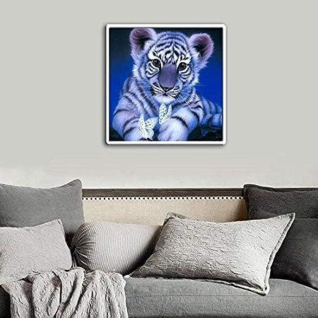 Monbedos 5D Diamantmalerei-Kits komplettes Kit 20cm blau DIY Tiger Diamant Malerei Kunst Full Drill Kristall f/ür Zuhause Wanddekoration 20