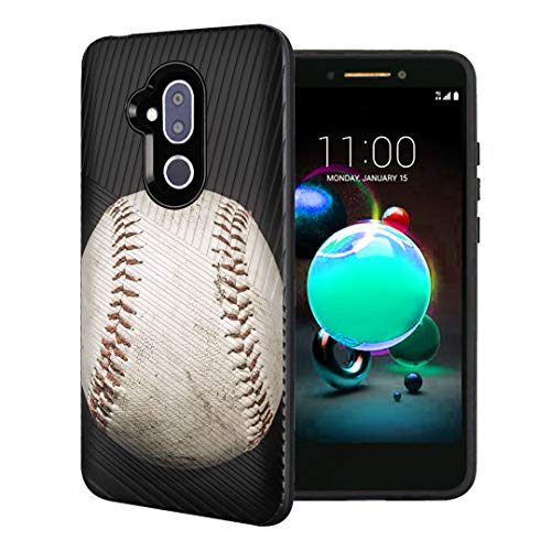 Capsule Case Compatible with T-Mobile Revvl 2 Plus, Alcatel 7 Folio, Alcatel 7 (2018) Metro PCS [Embossed Diagonal Lines Hybrid Dual Layer Slim Armor Case Black] - (Baseball)