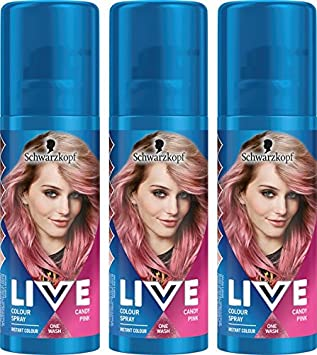 Schwarzkopf Live Colour Temporary Hair Spray, Candy Pink, Pack of 3