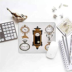 Clock Patterned Mouse pad Vintage Styled Clocks Arrangement Old Fashioned Pattern in Antique Theme Design Easy to Clean and Maintain W15.7 x L23.6 x H0.8 Inch Umber and Beige