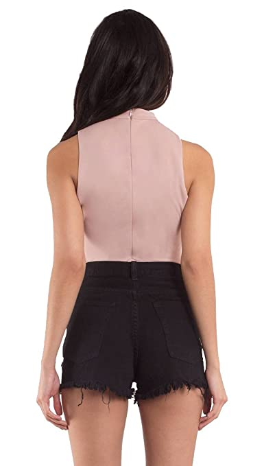 073def689c Lena Lace Up Mock Neck Choker Sleeveless Strappy Deep V Neck Bodysuit Blush  Pink at Amazon Women s Clothing store