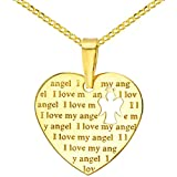 14K Yellow Gold Heart Charm with I Love My Angel Script Pendant Cuban Chain Necklace, 16''